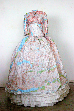 11 Susan Stockwell Highland Dress. 2008. Paper Maps, Rice Paper And Metal Frame, Photo By The Artist.
